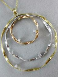 Large Diamond 14kt White Yellow Rose Gold Twisted Hoops Pendant Italy 16 Prp347