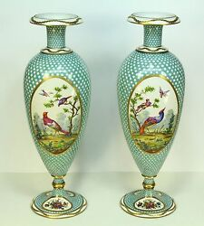 1800and039s Antique Limoges Pair Fine Hand Painted Porcelain Tall Vases 21
