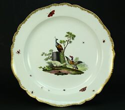 1700and039s Meissen Fine Porcelain Star Mark Plate Charger - Birds And Insects 13
