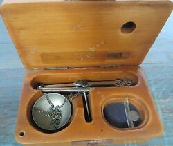 Antique Weight Scale Portable Balancing Tool Jewellery Gold Gemstone Wooden Box
