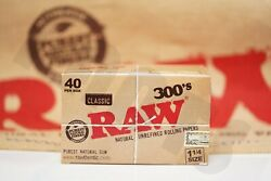Full Box 40 Packs300 Leaves Per Pack Authentic Raw Rolling Paper 300's 1 1/4