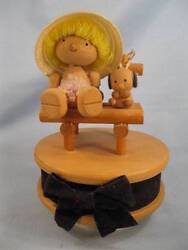Girl And Dog In Chair Music Box Wooden Vintage Unknown Maker O