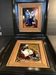 A Pair Of Antique Hand Enameled Limoges Plaques/ Signed F.j.carmona/france 1930