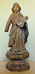 Madonna And Child Spanish Colonial Figure Statue Hand Carved 19th Century Antique
