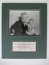 W C Fields Autograph Check And Silver Gelatin Photo Matted Original 1926