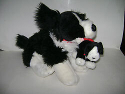 Build Bear Lot Of 2 Border Collie Pup Puppy And Dog Black White 17 Plush Stuffed