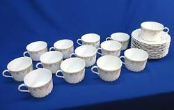 12 Haviland Limoges Ladore Gold And White Cups And Saucers