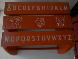 Vintage-wooden Abc Step Stool Or Chair W/ Animal Stencil Graphics.