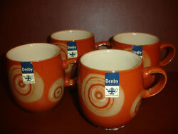 New Set Of 4 Denby Fire Chilli Large Curve Mugs Cup Pottery Stoneware China