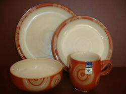Nwt 4 Piece Place Setting Set Denby Fire Chilli Dinnerware Pottery Stoneware