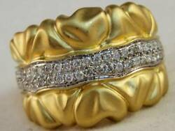 Wide Designer Pave Diamond 14k Wy Gold Satin Finish Cocktail Ring Band R03538ay1