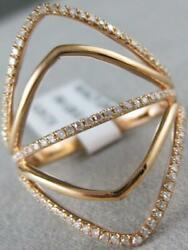 Modern Pave Diamond 14k Rose Gold Wide Multi Band Open Marquise Ring 26m R31597r