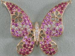 Large Diamond Ruby Pink Sapphire 14k Rose Gold Flower Butterfly Necklace 100624