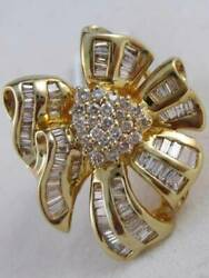 Fancy Large Diamond 14k Gold Fancy Filigree Bow Cluster Cocktail Ring 28m 4307y