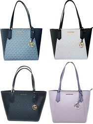 Michael Kors Kimberly SMALL Bonded Top Zip Tote Admiral MK Pale Blue White Black