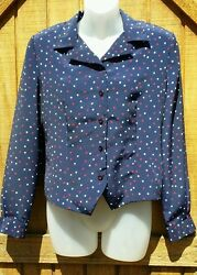 Leslie Fay Sportswear Petite Polka Dot Collar Button-up Blouse 8P
