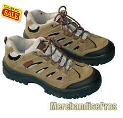 Men's Bluff Creek Leather Trail Hiking Shoes 11d And Starter Crew Socks Bundle New