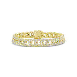 3.18 CT 14K Yellow Gold Real Round Diamond Pave Cuban Link Chain Bracelet Womens