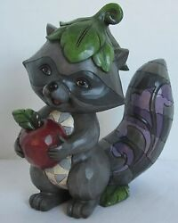 Jim Shore Figurine 2015 Masked Bandit Raccoon With Apple And Leaf Hat Gray Grey