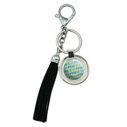 Cute Girly Ribbon Bows Set Chrome Plated Metal Round Leather Tassel Keychain
