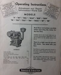 Briggs Stratton Model B Bh Br Bhl Bp Engine Owner, Parts And Service Repair Manual