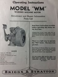 Briggs Stratton Wm Washing Hit Miss Engine Owner, Parts And Service Repair Manual