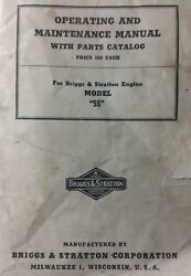 Briggs Stratton Model 5s Engine Motor Gas Owner, Parts And Service Repair Manual