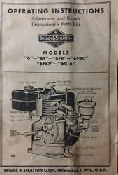 Briggs Stratton Model 6 6f 6fb 6r-6 Engine Owner, Parts And Service Repair Manual
