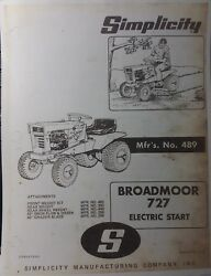 Simplicity 727 Broadmoor Lawn Tractor And Implements Owner And Parts Manual Allis
