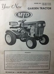 1968 Mtd Garden Tractor And Snow Thrower, Dozer, Mower Owner And Parts 4 Manuals