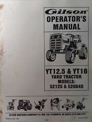 Gilson Yt12.5 Yt16 Yard Tractor And Mower Owner And Parts 2 Manuals Ford Lawn-boy