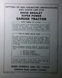 David Bradley Sears 917.575102 Garden Tractor And Plow Owners And Parts 2 Manuals