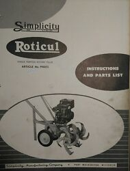 Simplicity Roticul Rotary Tiller Walk-behind Tractor Owner And Parts Manual