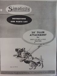 Simplicity Walk-behind Wards Tractor 28 Tiller Implement Owner And Parts Manual