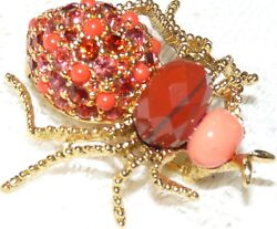 JOAN RIVERS Critters Gold Tone Orange Fx Coral & Crystal Spider BroochPin  M59*