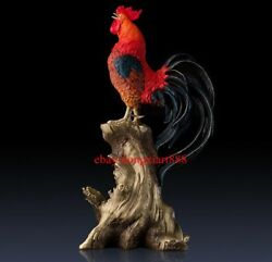 59 Cm China Zodiac Animal Art Deco Pure Brass Painted Chicken Rooster Sculpture