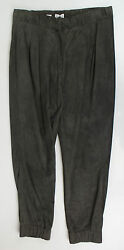 New Brunello Cucinelli Gray Suede Leather Pleated Casual Pants Size 42/6 2930