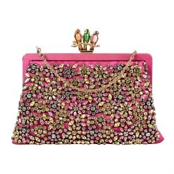 NWT VALENTINO Pink Satin With Stone Flower Design Clutch Bag $3395