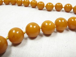 Art Deco Collectable Bakelite Necklace Yellow 12mm Hand Made Beads