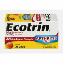 Ecotrin Safety Coated Aspirin Tablets 325mg Regular Strength 125 Count 12 Pack