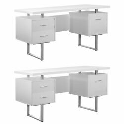 Monarch 60 Contemporary Modern Home Office Study Computer Desk White 2 Pack