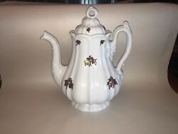 Lc5 Antique White Ironstone Coffee Pot Luster Grapes E. Walley Ca. 1850andrsquos