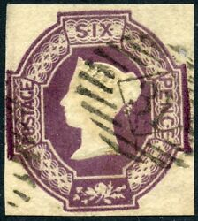 Rare 1854 Embossed 6d Violet Used. S.g. 61.