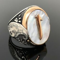 925k Sterling Silver Mother Of Pearl Alif Menand039s Ring Special Edition K62a