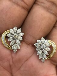 Pave 2.08 Cts Round Marquise Pear Cut Diamonds Stud Earrings In 585 14karat Gold