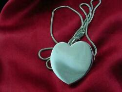 Vtg Unusual Curved Outward Sterling Silver Heart Pendant With 22 Chain 1912