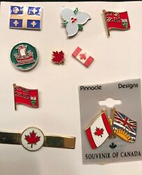 Canada Flag Maple Leaf Canadian Bc, Quebec, Red Ensign, Pin Lot Tie Clip 9 Pc