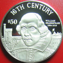 1997 Cook Islands 50 Silver Proof William Shakespeare English Poet Writer Rare