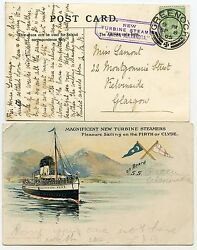 1905 Postcard With Andfrac12d Evii With New Turbine Steamer Queen Alexandra Cachet.