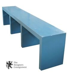Massive Mid-Century Modern Blue Wooden Console Table Sofa Hall Display MCM